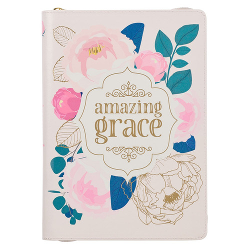 Amazing Grace Faux Leather Classic Journal with Zipped Closure