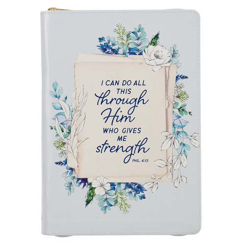 All Things Pale Blue Floral Faux Leather Classic Journal with Zipped Closure - Philippians 4:13