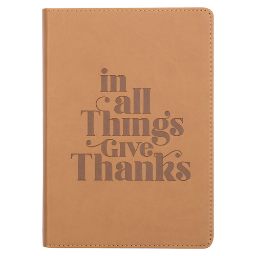 Give Thanks Tan Faux Leather Classic Journal