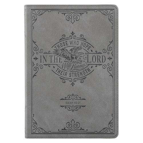 Hope in the LORD Gray Faux Leather Classic Journal - Isaiah 40:31