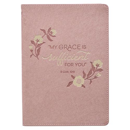 Sufficient Grace Pearlescent Dusty Rose Faux Leather Classic Journal - 2 Corinthians 12:9