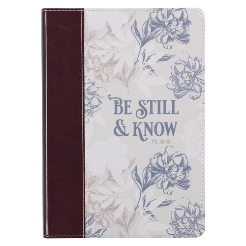 Be Still and Know Neutral Florals Faux Leather Classic Journal - Psalm 46:10