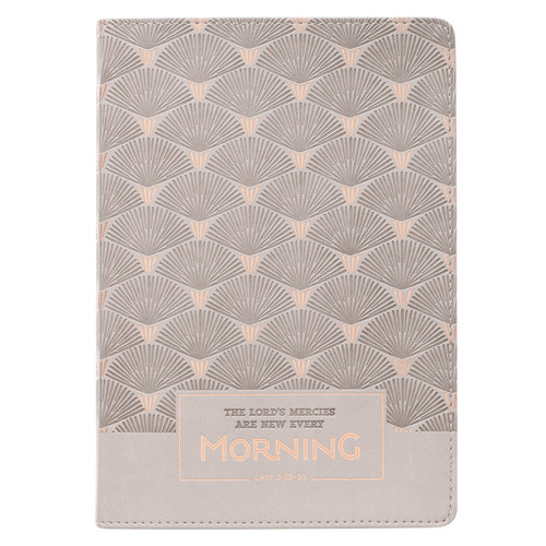 Every Morning Light Gray Faux Leather Classic Journal - Lamentations 3:22-23