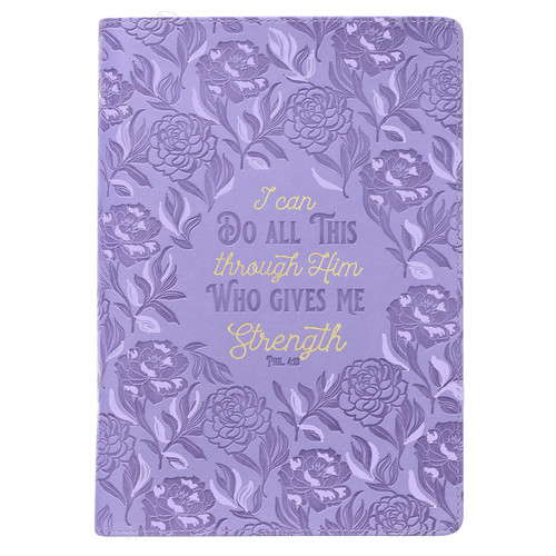 Through Him Purple Floral Faux Leather Classic Journal with Zippered Closure - Philippians 4:13