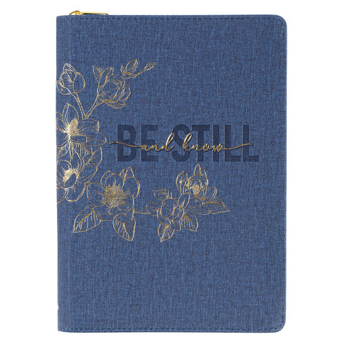 Be Still Blue Denim Faux Leather Classic Journal with Zippered Closure - Psalm 46:10