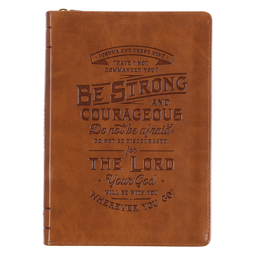 Be Strong Toffee Brown Faux Leather Classic Journal with Zippered Closure - Joshua 1:9