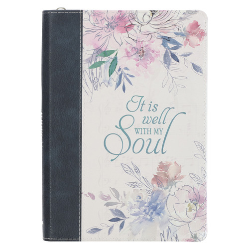 It IS Well Hymn Blue Faux Leather Classic Journal with Zippered Closure