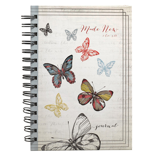 Made New Butterfly Large Hardcover Wirebound Journal - 2 Corinthians 5:17