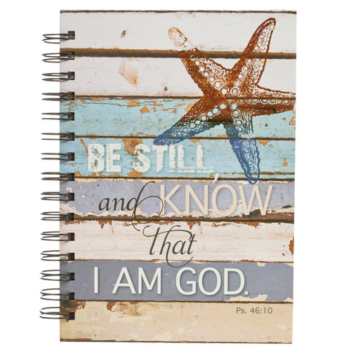Be Still Coastal Design Large Hardcover Wirebound Journal - Psalm 46:10