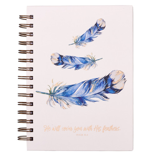 Feathers Large Hardcover Wirebound Journal - Psalm 91:4