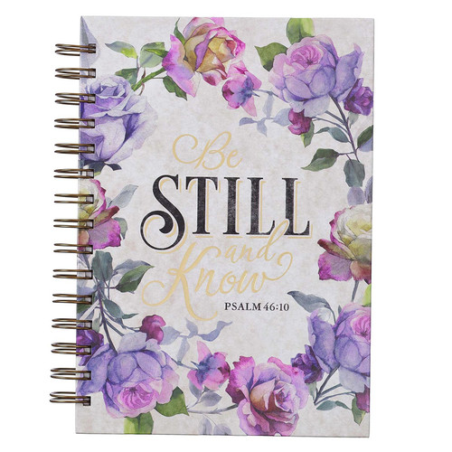 Be Still and Know Large Wirebound Journal in Purple Florals - Psalm 46:10