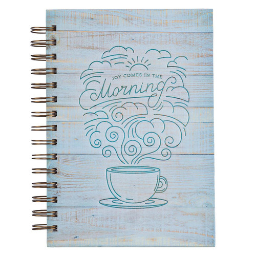 Joy Comes In The Morning Large Wirebound Journal in Distressed White Wood