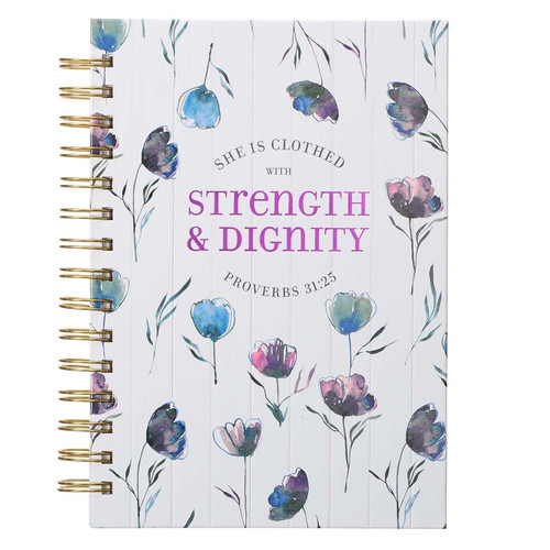 She Is Clothed With Strength & Dignity Large Wirebound Journal - Proverbs 31:25