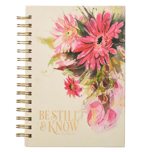 Be Still & Know Red Daisies Large Wirebound Journal - Psalm 46:10
