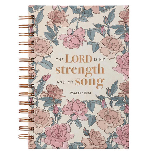 My Strength and My Song Pink Rose Wirebound Journal - Psalm 118:14