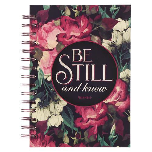 Be Still Vintage Floral Large Wirebound Journal - Psalm 46:10