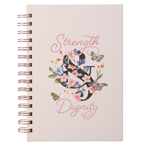 Strength & Dignity Pink Butterfly Garden Large Wirebound Journal - Proverbs 31:25