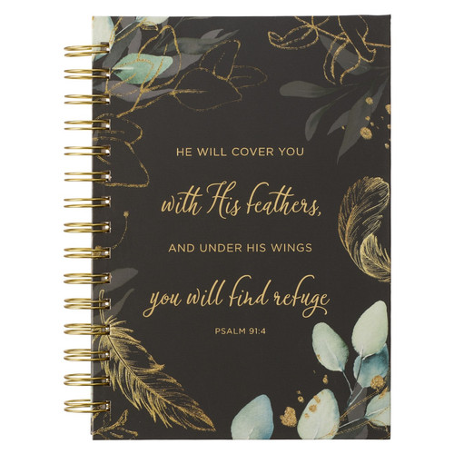 Find Refuge Black and Gold Feather Large Wirebound Journal - Psalm 91:4