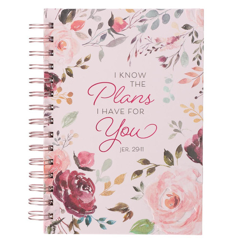 The Plans I Have for You Plum Floral Wirebound Journal - Jeremiah 29:11