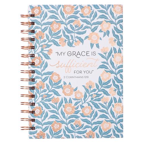 Sufficient Grace Teal Floral Large Wirebound Journal - 2 Corinthians 12:9