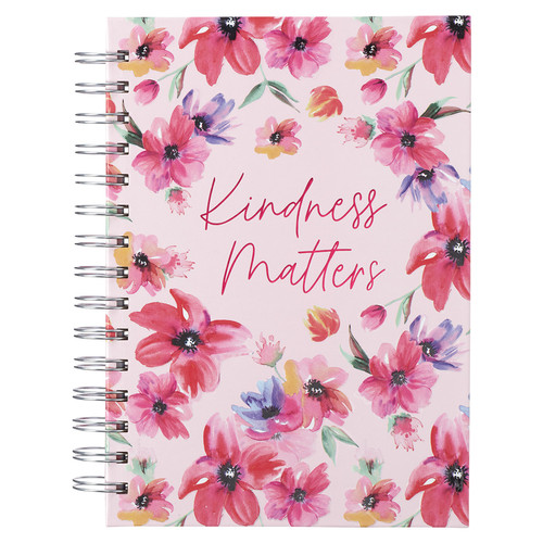 Pink Cosmos Kindness Matters Large Wirebound Journal