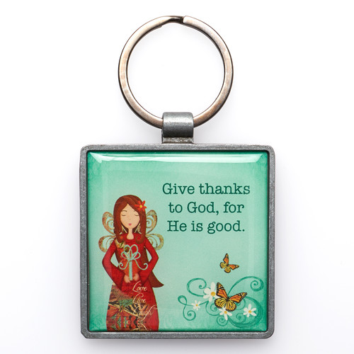 Give Thanks Metal Keyring