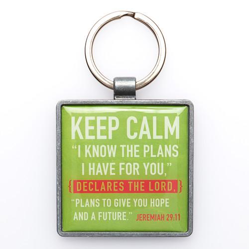 Green Keep Calm Keyring Featuring Jer. 29:11