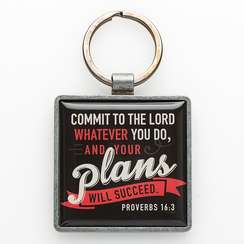 Commit to the Lord Metal Keyring Featuring Prov. 16:3