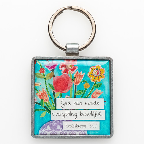 Metal Keyring: Floral Blessings - Ecclesiastes 3:11