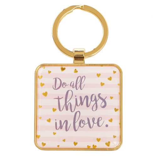 Do All Things in Love - 1 Corinthians 16:14 Metal Keyring