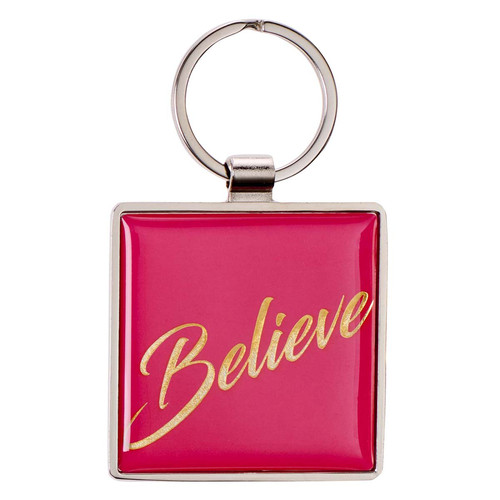 Believe - Matthew 19:26 Metal Keyring