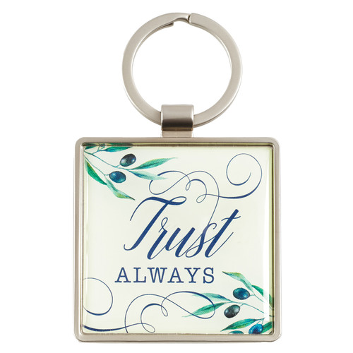 Trust Always in Olive Design - Psalms 52:8-9 Keyring