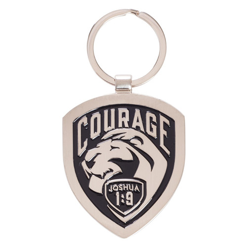 Courage - Joshua 1:9 Metal Keyring
