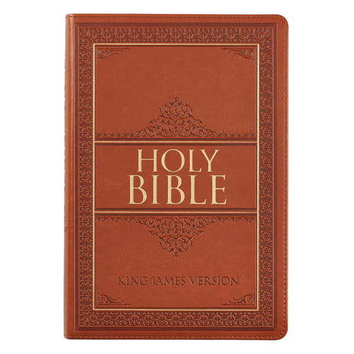 Tan Faux Leather Large Print Thinline King James Version Bible with Thumb Index