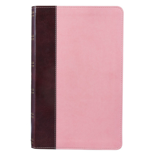 Brown and Pink Half-bound Faux Leather Giant Print King James Version Bible