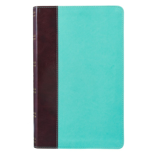 Brown and Turquoise Half-bound Faux Leather Giant Print King James Version Bible