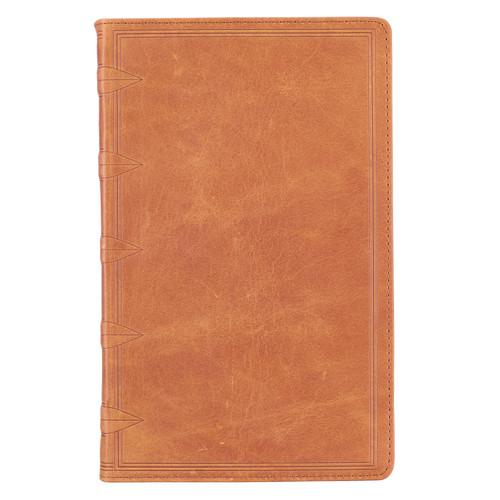 Premium Leather Tan KJV Bible Giant Print