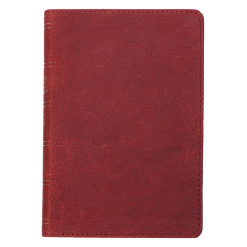 Premium Leather Burgundy KJV Bible Large Print Compact