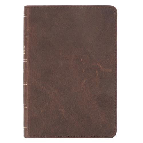 Premium Leather Dark Brown KJV Bible Large Print Compact