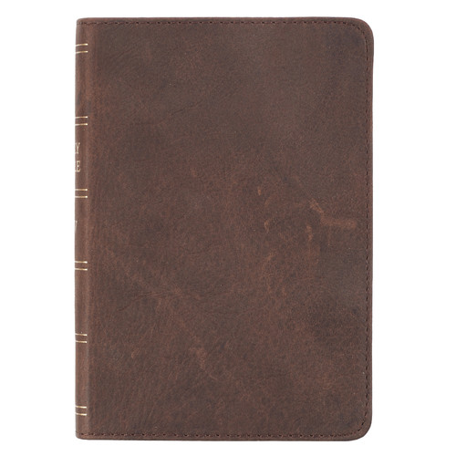 Premium Leather Dark Brown KJV Bible Large Print Compact