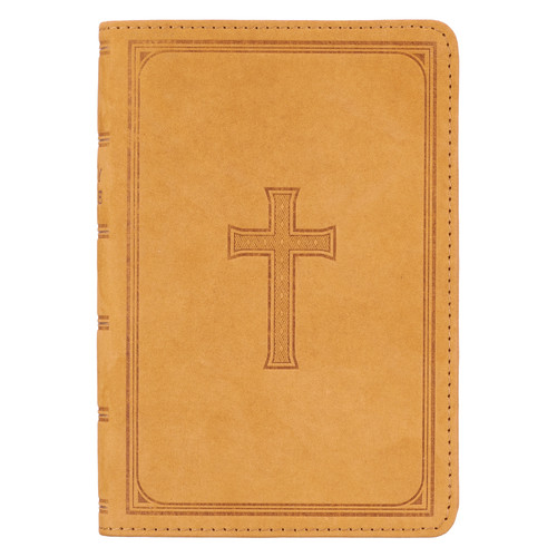 Premium Leather Tan KJV Bible Large Print Compact