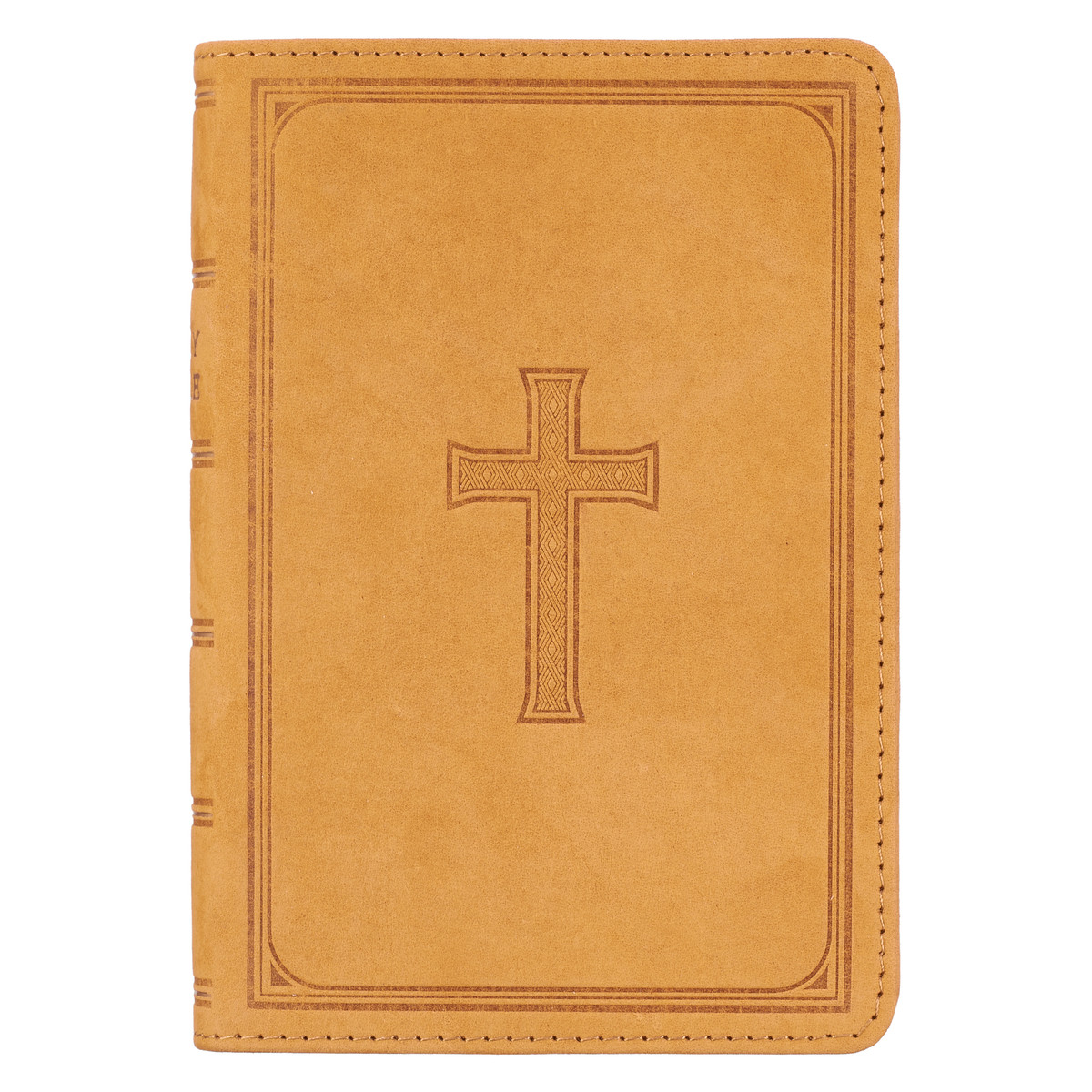 Premium Leather Tan KJV Bible Large Print Compact