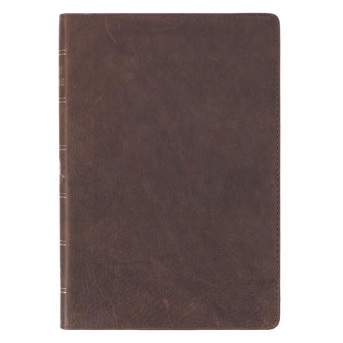 Premium Leather Brown KJV Bible Thinline Large Print