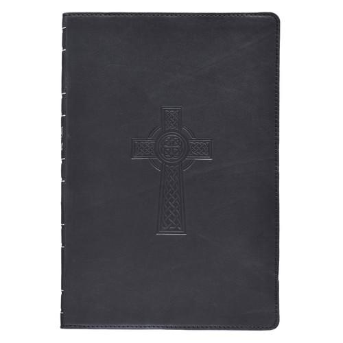 Premium Leather Black KJV Bible Thinline Large Print