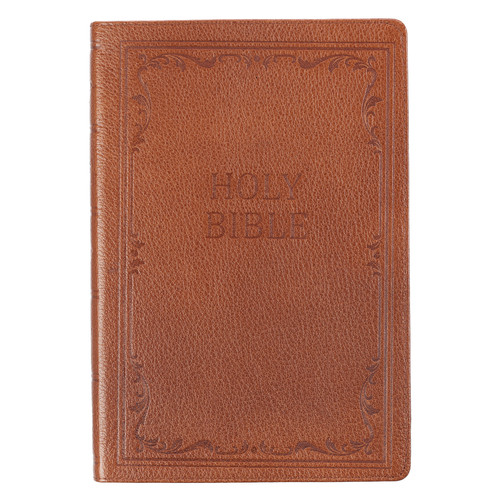 Premium Leather Tan KJV Bible Thinline Large Print