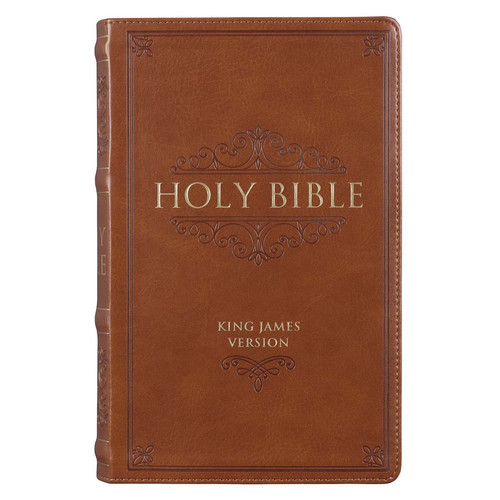 Brown Faux Leather Giant Print King James Version Bible with Thumb Index