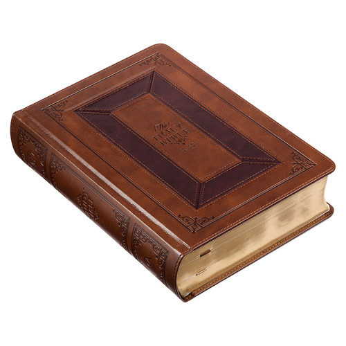 Toffee and Burgundy Faux Leather King James Version Study Bible with Thumb Index