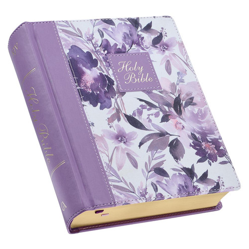 Purple Floral Faux Leather Hardcover Note-taking Bible