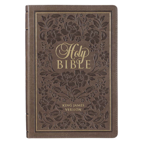 Dusty Brown Floral Faux Leather Large Print King James Version Bible with Thumb Index