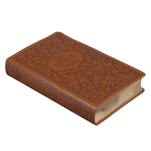 Floral Brown Faux Leather Giant Print Bible with Thumb Index - KJV